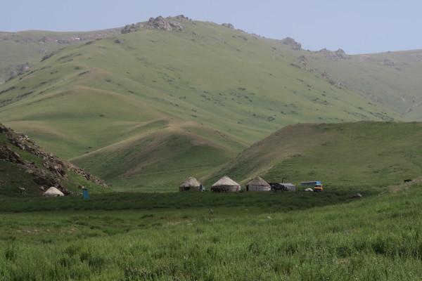 Yurts op de jailoo Kilemche