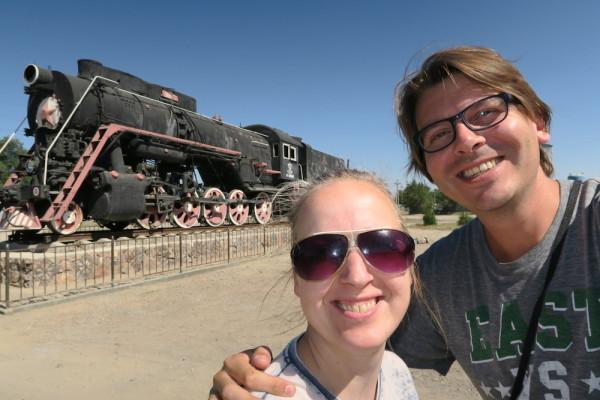 selfie bij locomotief